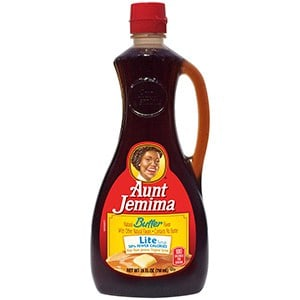 A bottle of Aunt Jemima lite syrup