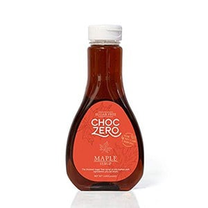A bottle of Choc Zero sugar free maple syrup