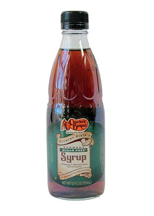 A bottle of Cracker Barrel sugar free syrup