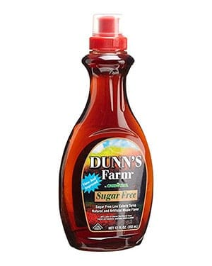 A bottle of Dunn's Farm sugar free syrup