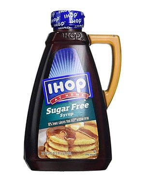 A bottle of ihop sugar free syrup