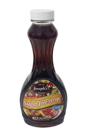 A bottle of Joseph's sugar free maple syrup