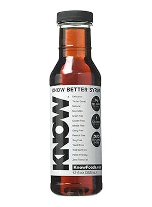 A bottle of Know Foods maple syrup calorie