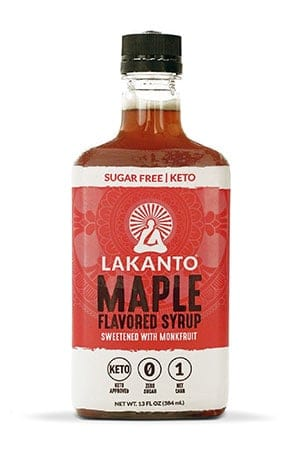 A bottle of Lakanto sugar free maple flavored syrup