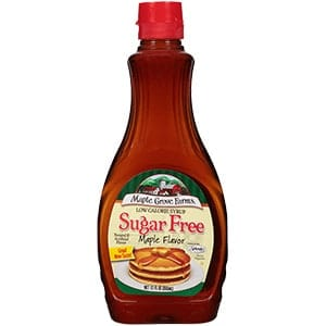 A bottle of Maple Grove sugar free maple flavor