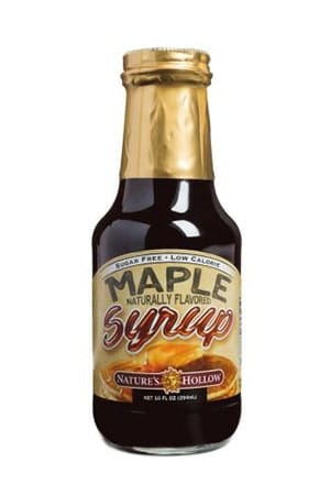 A bottle of natures hallow maple sugar free syrup