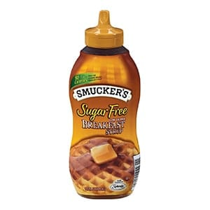 A bottle of Smuckers sugar free breakfast syrup