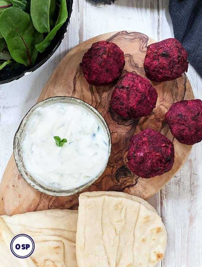Beetroot falafels with tzatziki and flatbreads