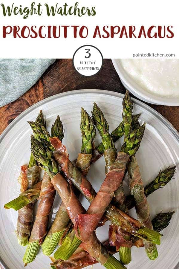 This roasted Prosciutto wrapped Asparagus is a healthy and delicious lunchtime meal. Working out at 3 Smart Points for 6 spears it makes a perfect low point weight watchers lunch recipe. Enjoy on its own or dipped dipped in a little garlic mayo! #weightwatcherslunchrecipes #weightwatchersrecipeswithpoints #prosciuttowrappedasparagus