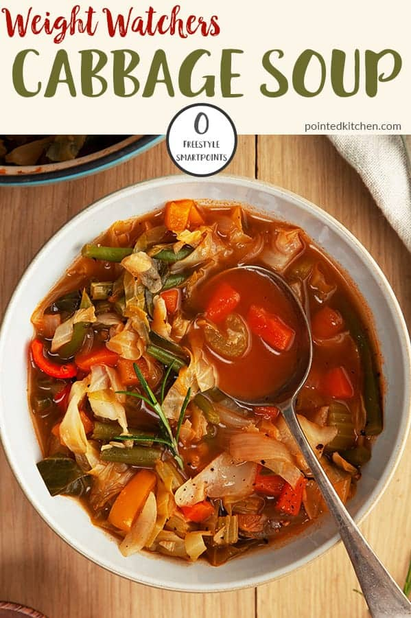 This Zero Smart Point Cabbage Soup is a must if you are following Weight Watchers Freestyle plan. Tasty, easy to make and very filling, it makes a perfect zero point soup for days when you want to save your SmartPoints! #zeropointsoups #weightwatcherssoups #weightwatchersrecipeswithpoints #zeropointfoods