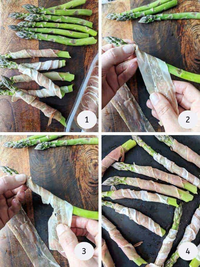 Pictures of how to wrap prosciutto around asparagus