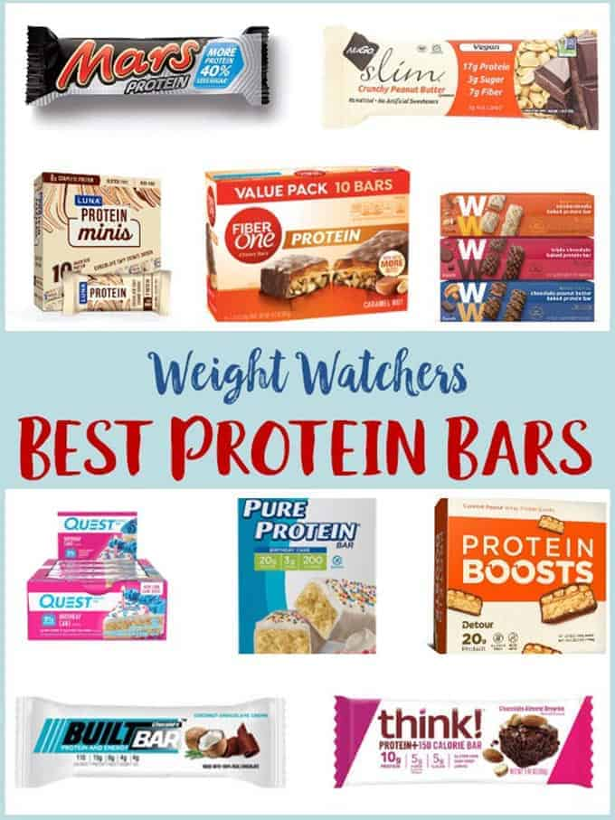 A compilation of photos of the best protein bars for Weight Watchers