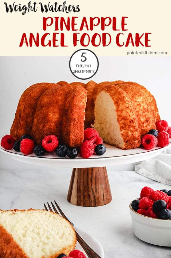 This Pineapple Angel Food Cake is just 5 Smart Points per portion on Weight Watchers Freestyle plan. Serve with mixed berries and a dollop of light whipped cream for a tasty low Smart Point WW dessert. So easy to make! #weightwatchersrecipeswithpoints #weightwatchersdessertrecipes #wwfreestylerecipes