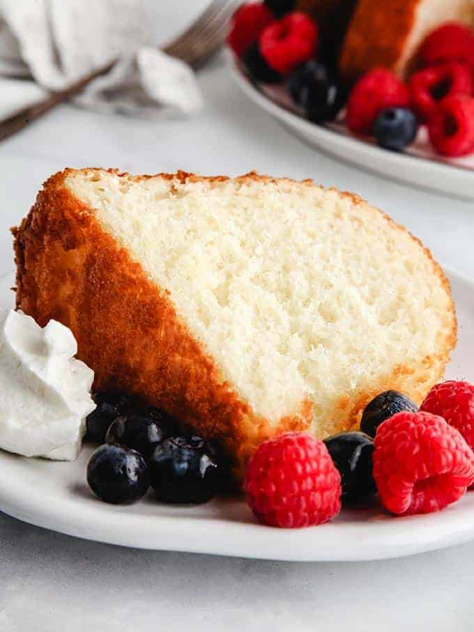 A slice of pineapple angel food cake - weight watchers
