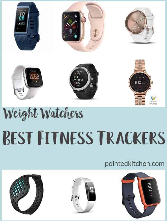 A collage of some of the best fitness trackers for weight watchers