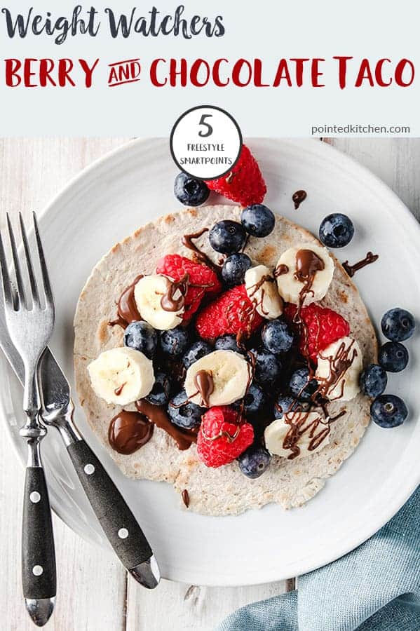 This delicious Berry Breakfast Taco is 5 SmartPoints per portion on Weight Watchers Freestyle plan.A warm taco smothered in chocolate spread and topped with sliced bananas and berries, it makes a tasty Weight Watchers breakfast recipe. The ingredients can be adapted to reduce the Smart Point values even further! #weightwatchersfreestylerecipes #weightwatchersbreakfastrecipes #weightwatchersrecipeswithpoints #smartpoints #healthybreakfasts