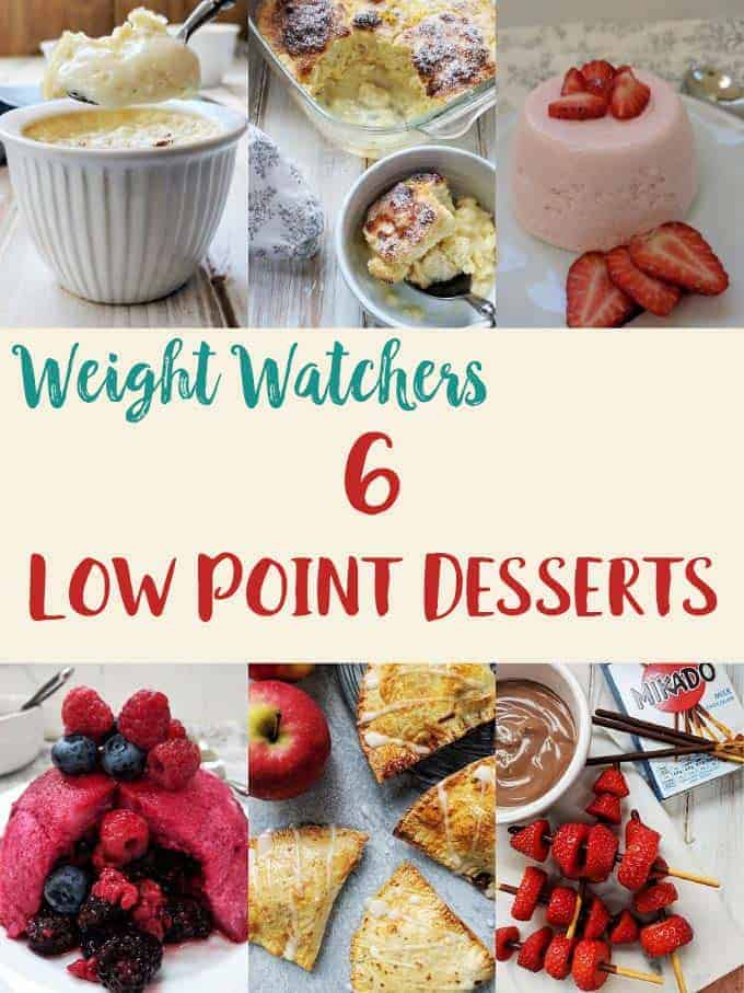 Collage of 6 low point desserts for Weight Watchers