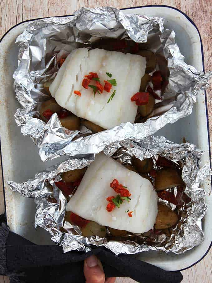 Cod, chorizo and new potato in foil parcels