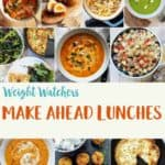 A photo collage of easy make ahead ww lunch recipes