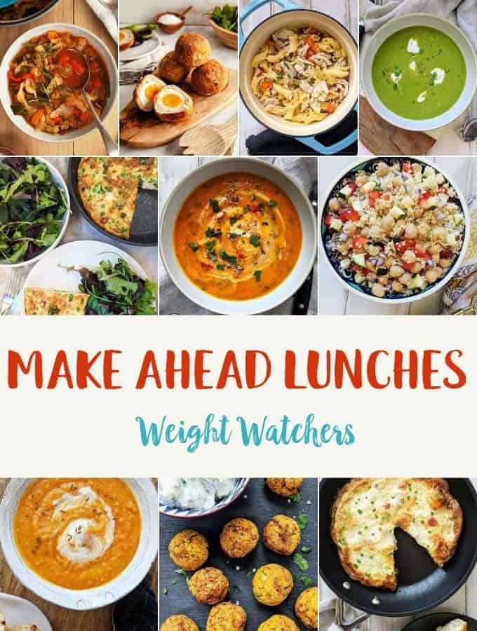 Photograph collage of made ahead lunches for weight watchers