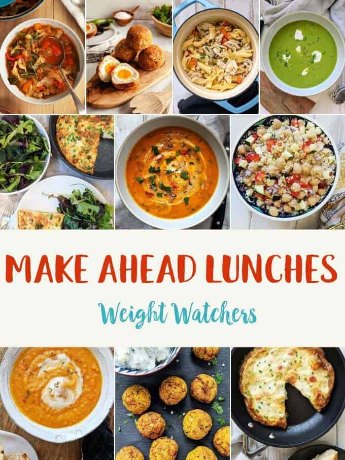 Photograph collage made ahead lunches for weight watchers