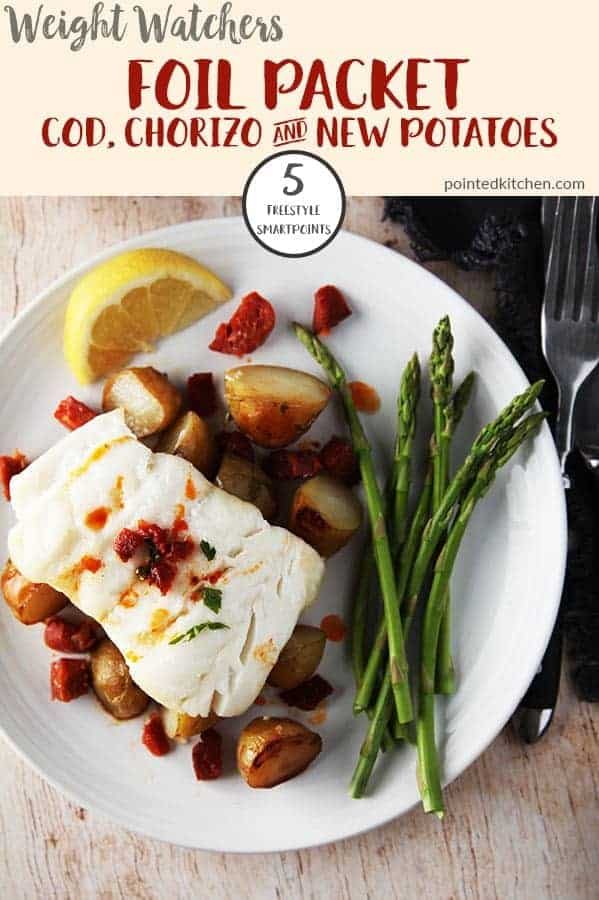 This filling & delicious Baked Cod, Chorizo & potato is just 5 Smart Points per serving on Weight Watchers Freestyle plan. Made in a foil parcel it is quick & easy to make! #weightwatchersrecipeswithpoints #weightwatchersfishrecipes #weightwatchersdinnerrecipes #codloinrecipes #bakedcod #healthyrecipes