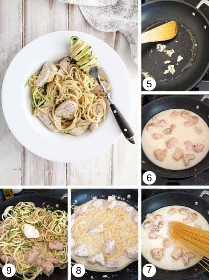 Pictures of making chicken Alfredo