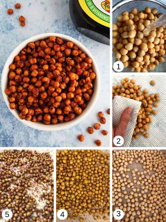 Pictures of making marmite chickpeas