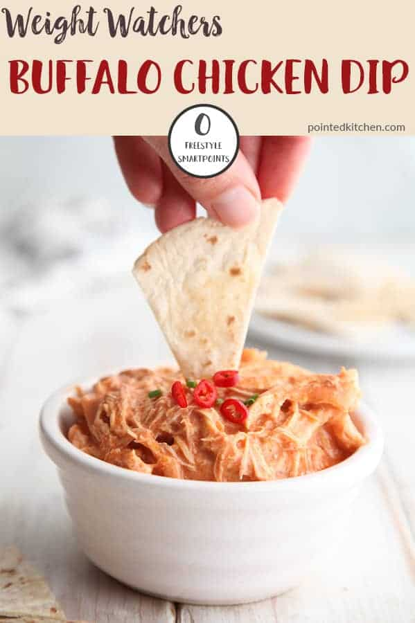 This buffalo chicken dip is zero Smart Points per serving on Weight Watchers Freestyle plan. Made with 4 ingredients, it couldn't be easier to make. A perfect WW snack recipe. #weightwatchersfreestyle #weightwatchersrecipeswithpoints #weightwatcherszeropointfoods