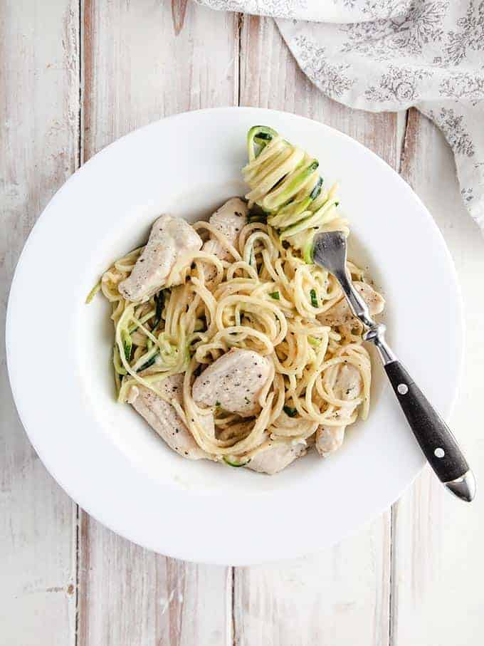 A bowl of chicken Alfredo and zucchini noodles