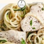 A close up of chicken Alfredo \ weight watchers
