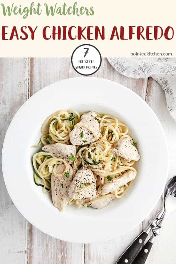 This creamy Chicken Alfredo is just 7 Smart Points on Weight Watchers Freestyle plan. An easy and tasty Weight Watchers dinner recipe for any day of the week! #weightwatchersfreestyle #weightwatchersrecipeswithpoints #weightwatchersdinnerrecipe