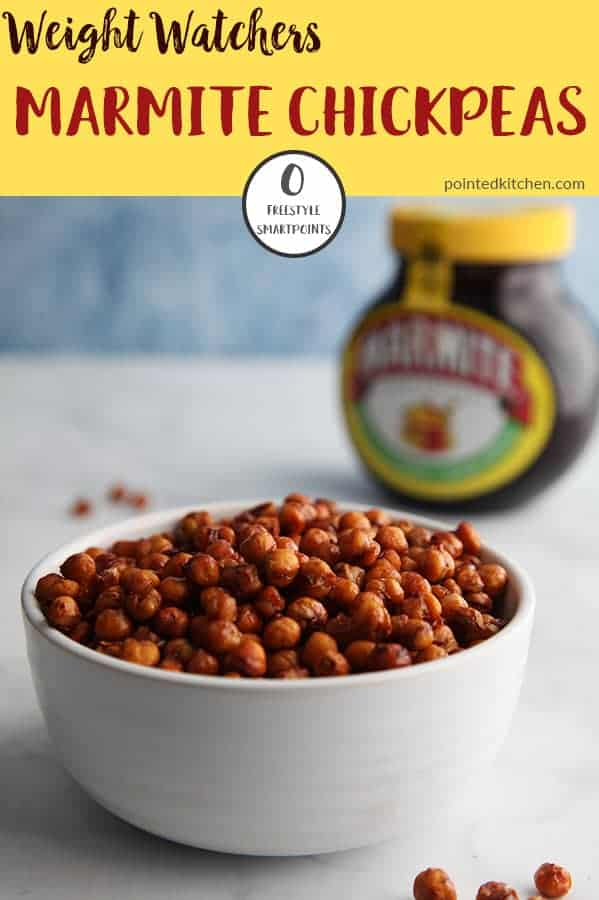 If you love Marmite, you will love these Roasted Marmite Chickpeas. They are zero Smart Points on Weight Watchers Freestyle plan. Easy to make and tasting incredible they are a Weight Watchers snack recipe that you will make again and again. #weightwatcherssnackrecipes #zeropointfood #smartpoints #weightwatcherssnacks