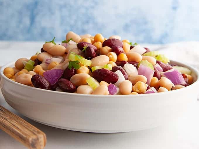 A close up picture of three bean salad