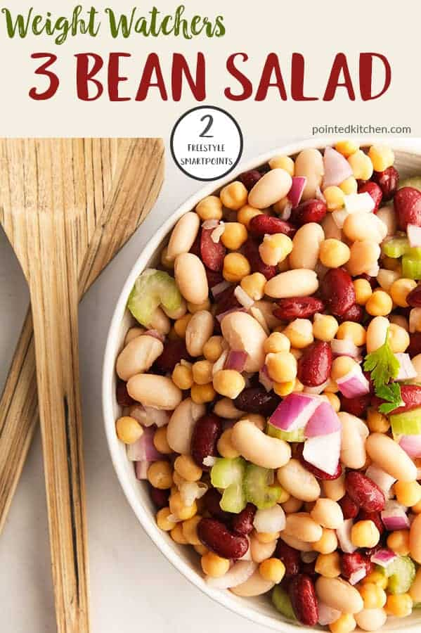 This quick & easy Three Bean Salad is just 2 Smart Points per serving on Weight Watchers Freestyle, Blue & Purple plans and 5 SmartPoints on the Green plan. Healthy, tasty and filling this is the perfect Weight Watchers lunch recipe. #weightwatchersrecipeswithpoints #weightwatcherslunchrecipes #weightwatcherssaladrecipe #threebeansalad