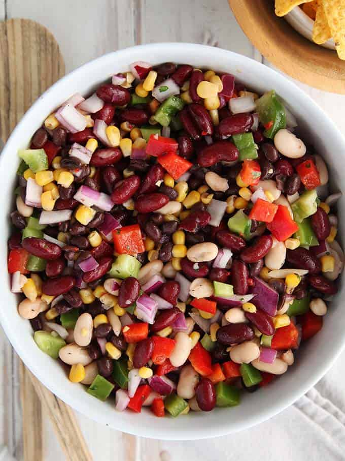A large bowl full of Weight Watchers Mexican Bean Salad
