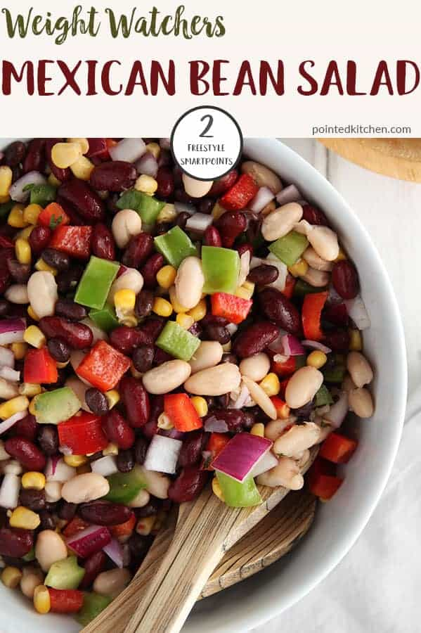 This tasty Mexican Bean Salad is just 2 Smart Points per generous serving on Weight Watchers Freestyle plan. Filling, healthy and tasty, this salad makes a great accompaniment for any Weight Watchers meal. #weightwatchersrecipeswithpoints #freestyle #smartpoints #weightwatcherssalad