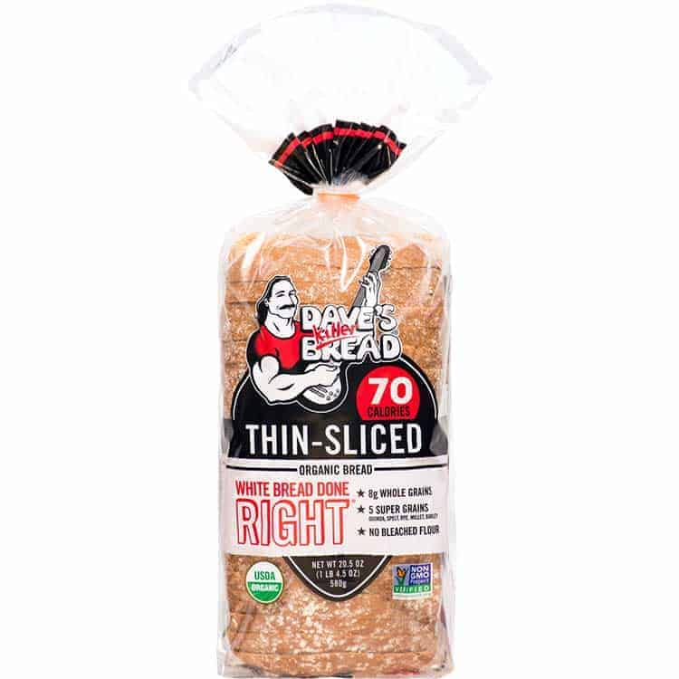 A loaf of Dave's Killer thin slice white bread
