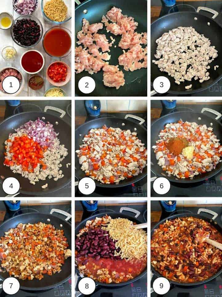 Photos of making turkey chili mac & cheese