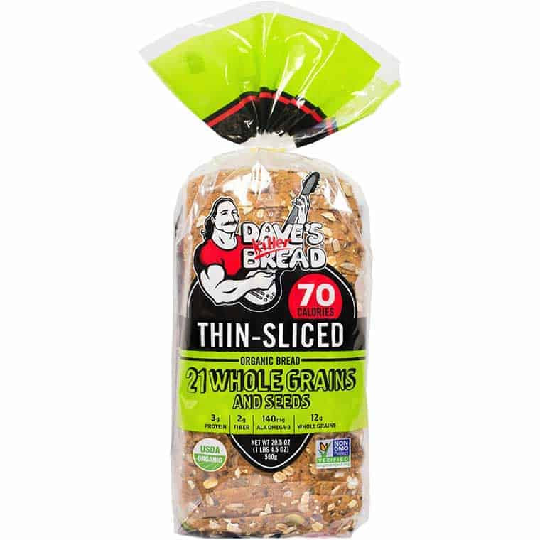 A loaf of Dave's Killer Bread Thin Sliced 21 Whole Grain & Seeds bread
