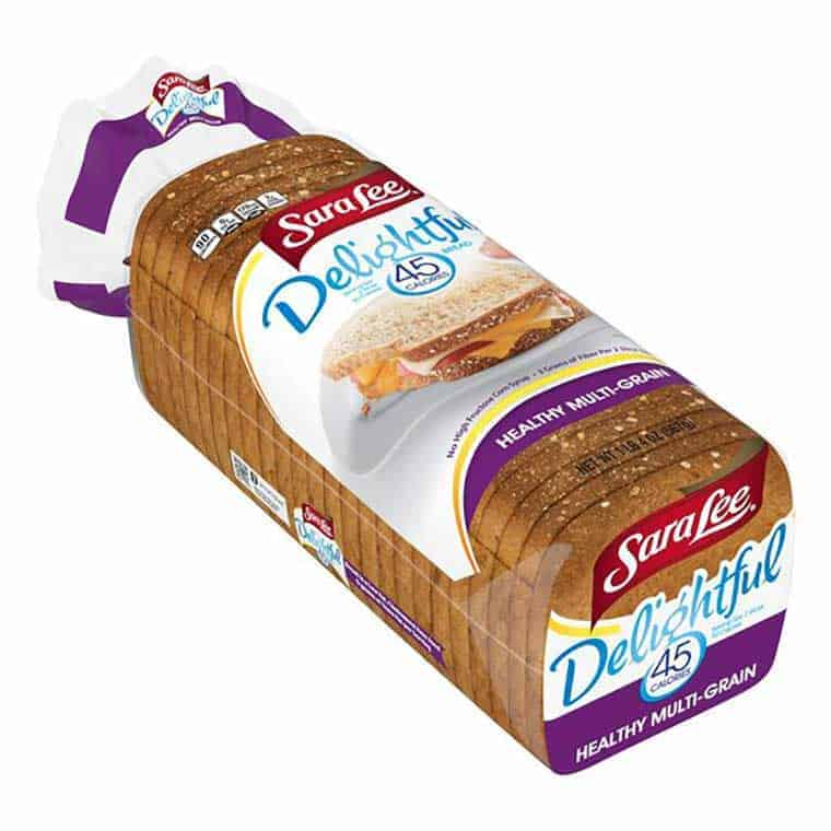 A loaf of Sara Lee Delightful 45 calorie healthy multigrain bread