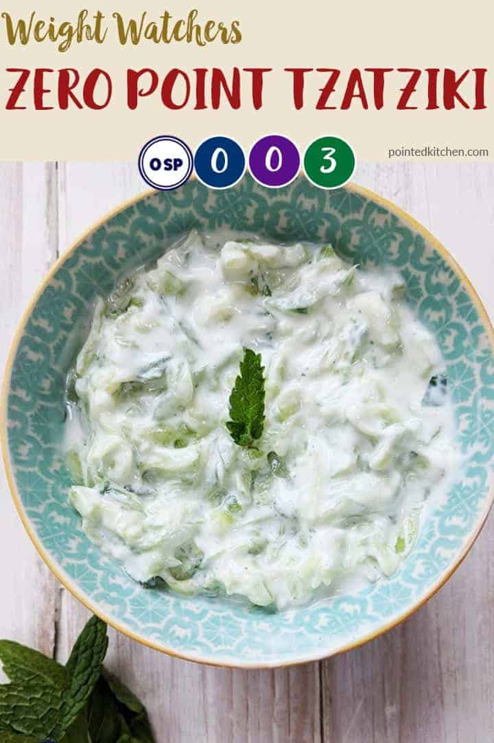 This easy Tzatziki is zero SmartPoints on Weight Watchers Blue, Purple and Freestyle plans. It is 3 SmartPoints per portion on myWW Green plan. A perfect low point side dish. #weightwatchersrecipeswithpoints #wwgreen #wwblue #wwpurple #freestyle #weightwatchersrecipes