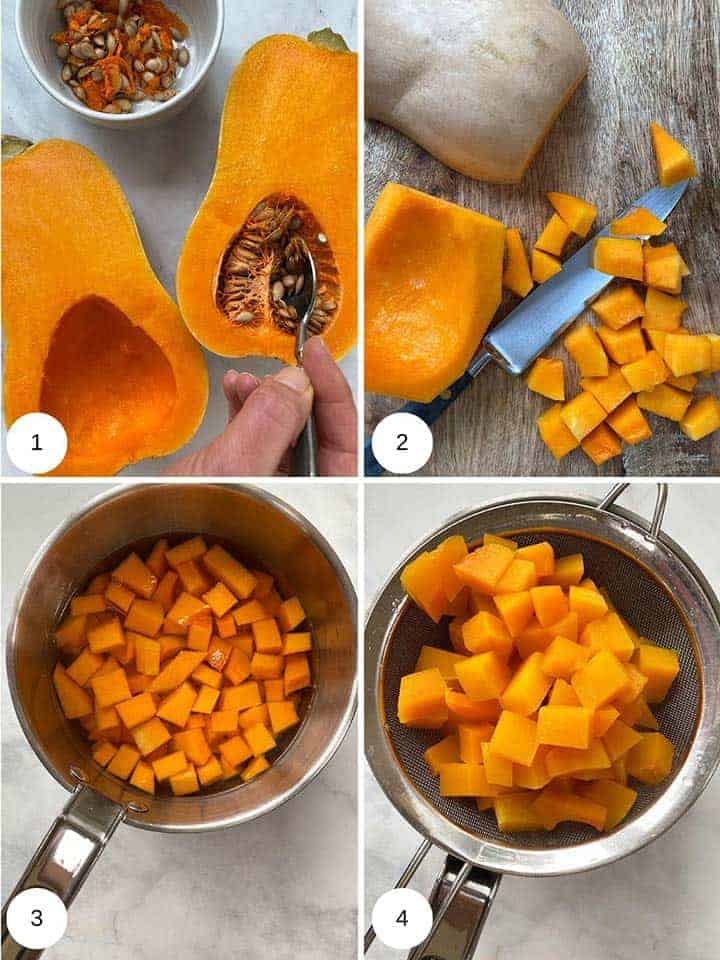 Process picture of making Butternut Squash mash