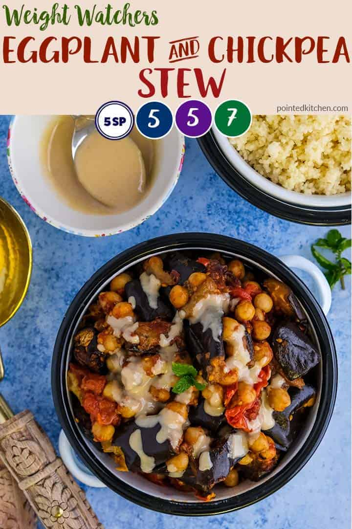 This Eggplant & Chickpea stew is a delicious weight watchers dinner recipe. 5 SmartPoint on myWW Blue & myWW Purple & 7 points on myWW Green plan. Easy to make and delicious. #wwgreenplan #wwblueplan #wwpurpleplan #weightwatchersrecipeswithpoints #weightwatchersvegetarianrecipes #weightwatchersveganrecipes