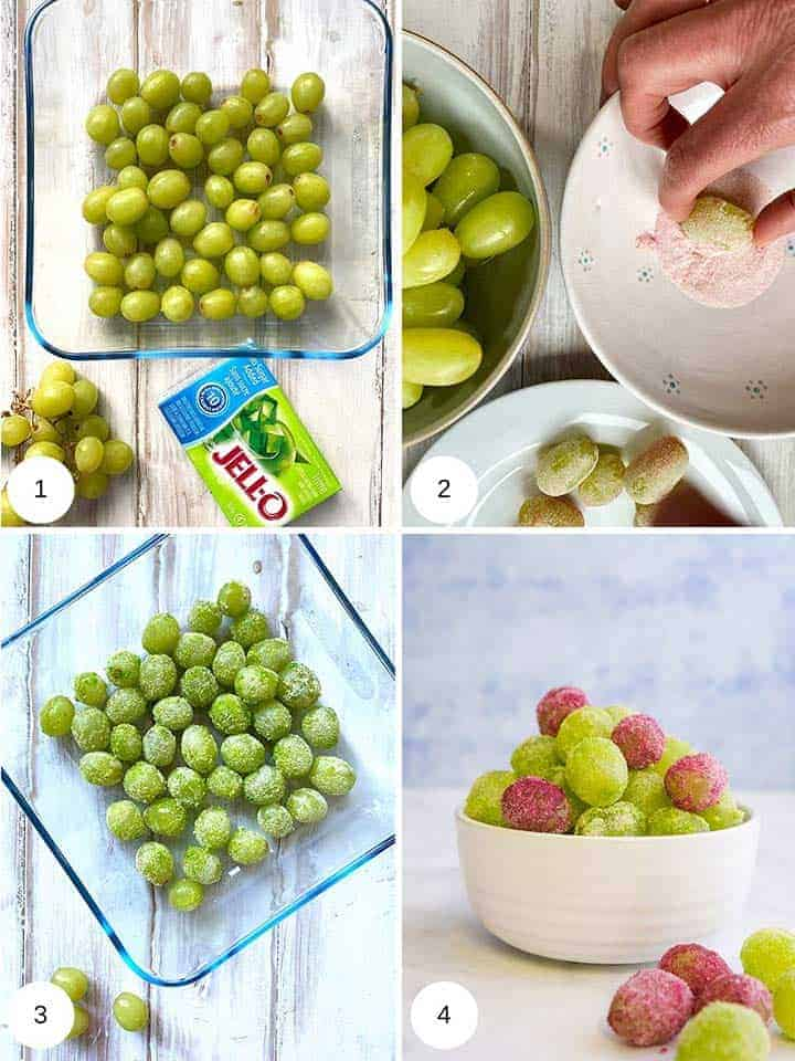 Pictures showing the process of making jello grapes