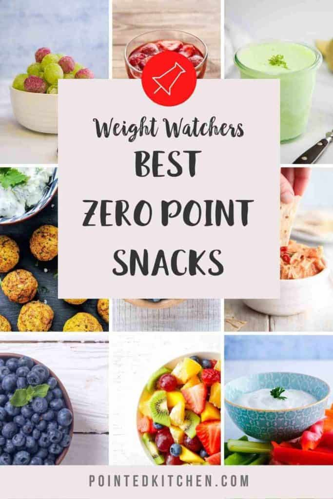A collage of the Best Zero Point Snacks for anyone following the Weight Watchers plans.