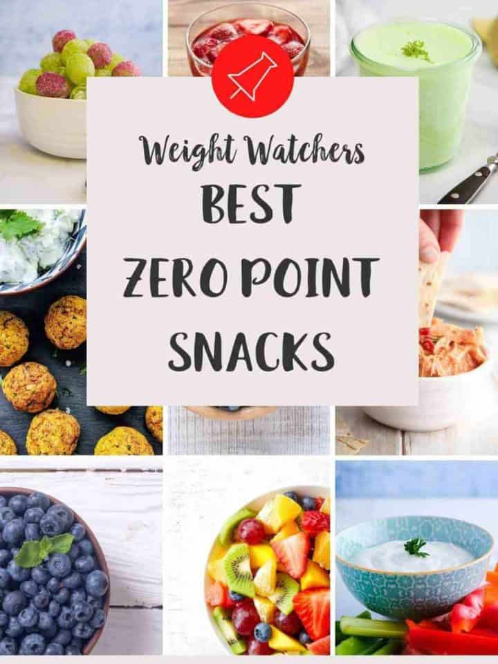A collage of foods that are the best zero point snacks for Weight Watchers