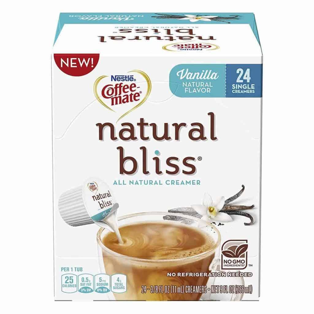 A box of Natural Bliss Vanilla Creamers