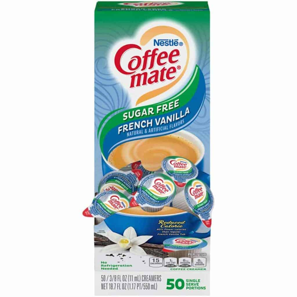 Coffee Mate Sugar Free French Vanilla creamers in a box