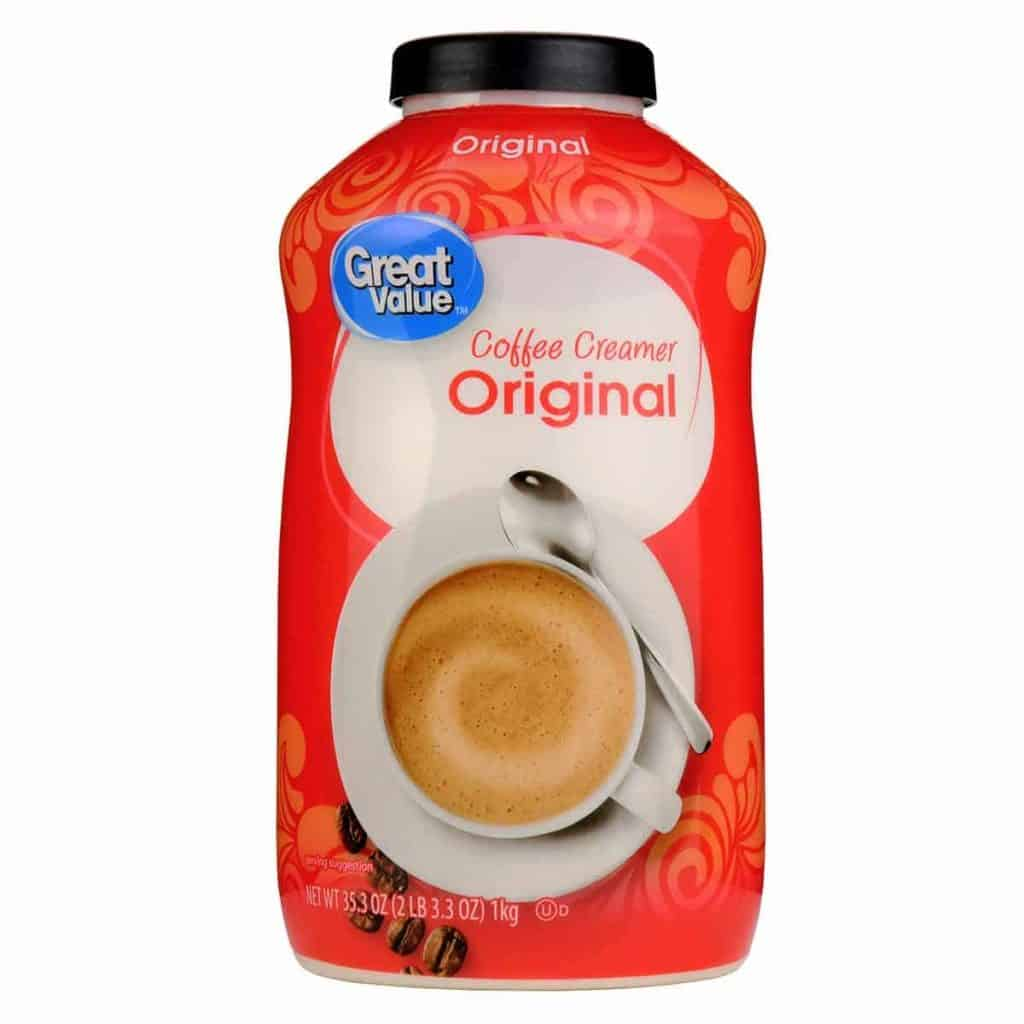 A tub of Great Value Coffee Creamer
